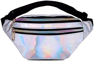 Feminino Holographic Fanny Packs for Women Cute Waist Packs Shiny Waist Bum Bag Waterproof for Travel Party Festival Runni...