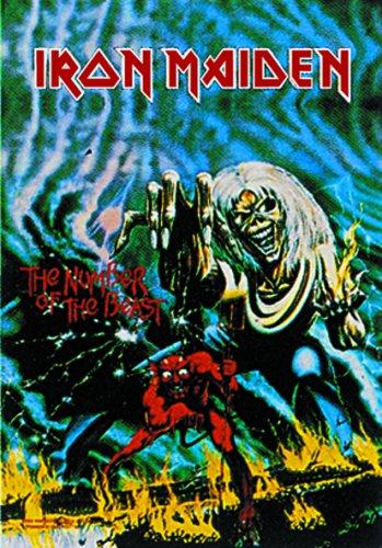Heart Rock Bandiera Originale Iron Maiden Number of The Beast, Tessuto, Multicolore, 110x75x0.1 cm