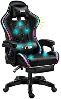 Silla de oficinas, silla de juegos ergonómicos LED luces de carreras Silla de computadora con masajeador de soporte lumbar y ajuste retractible del reposapiés del respaldo, altavoz inalámbrico