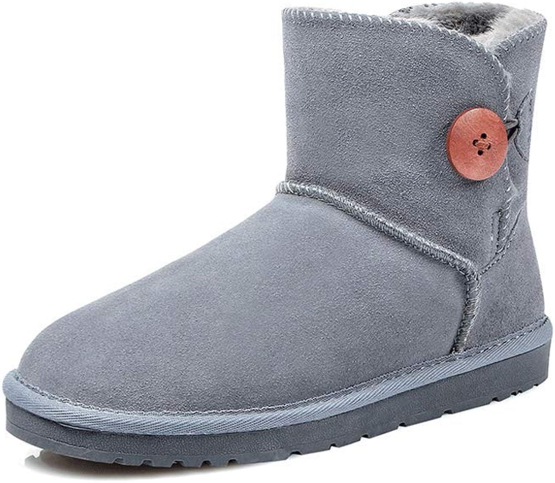 Ailj Snow Boots, Ladies Outdoor Leather Fluff One Booties Non-Slip Warm Boots Winter Cotton Boots (4 colors) (color   bluee, Size   39 EU 7 US 6 UK 24.5cm JP)