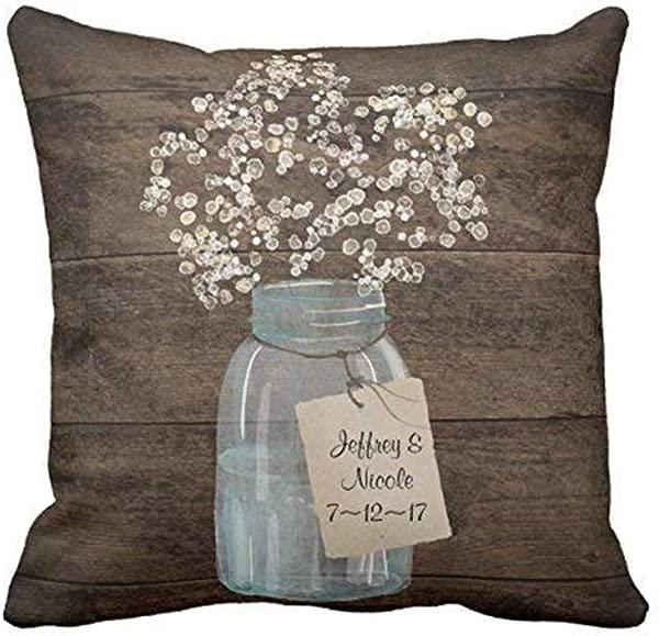Suesoso Pillowcover 18 X 18 Inch Rustic Barn Wedding Wood Mason Jar Babys Breath Throw Pillow Cover Home Decor