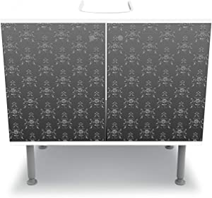 wandmotiv24 Mueble de baño Modelo Barroco Negro-Gris Pegar Completa Mueble de diseño Mueble de Lavabo M0122