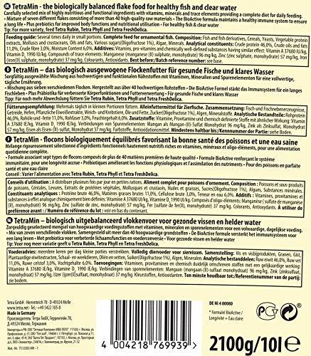 TetraMin (Hauptfutter für alle Zierfische in Flockenform, für ein langes und gesundes Fischleben und klares Wasser, plus Präbiotika für verbesserte Körperfunktionen und Futterverwertung), 10 Liter Eimer - 2