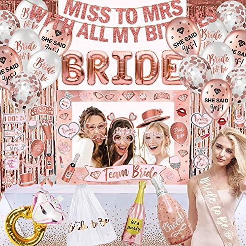 Batcholette Party Supplies for Women Kit-Bridal Wedding Veil ,Rose Gold Bride Ballons,Miss to Mrs Banner,Foil Curtain…
