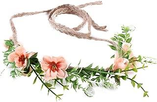 Tieback Flower Crown Flower Headband Baby Girl Toddler Woodland Green Leaf Floral Crown Wreath (Khaki)