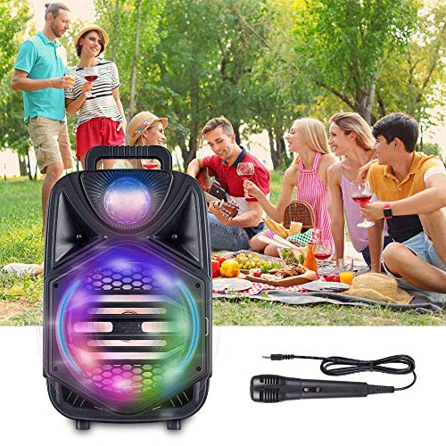 4YANG Altavoz de Karaoke Portátil Equipo De Karaoke Con Bluetooth, Luz De Atmósfera LED, Ajuste De Reverberación, Entrada AUX y 1 Micrófono Con Subwoofer De 8 Pulgadas Sonido De Alta Calidad