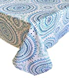 Newbridge Blue Circle Stitch Contemporary Print Indoor/Outdoor Soil Resistant Fabric Tablecloth - 60 X 84 Oblong, Blue
