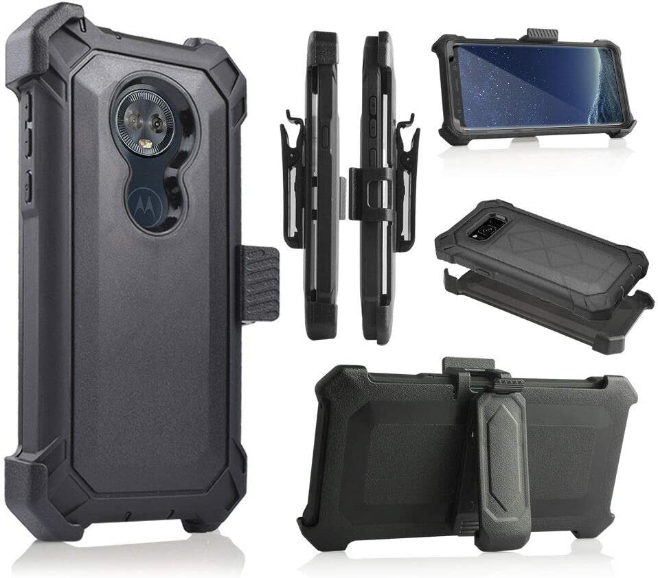 Motorola Moto G6 Play Case 2018, Moto G6 Forge Case, Heavy Duty Armor Case, Belt Clip Holster w/ [Built-in Screen Protector] Shockproof Drop Proof Cover [Value Bundle] (Black)