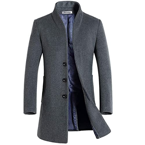 41b0db6c4d49b Allthemen Mens Trench Coat Long Slim Fit Wool Cashmere Coat Jacket Outerwear  Trenchcoats Winter Warm Overcoat