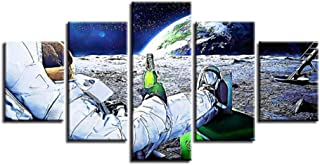 LSSFC Modular Canvas Photo Frame,5 Posters,Astronauts Drinking Beer, Earth,Art Painting,Living Room Wall Decoration, NO Frame@Size_3_No_Frame