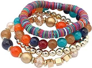Funic Women's 4 Pcs Colorful Beads Multilayer Bangle Handmade Bracelet Florid Cool Bracelets (Multicolor)