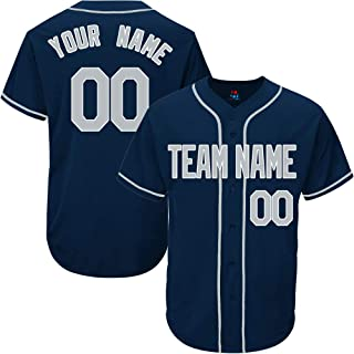 Navy Custom Baseball Jersey for Men Women Youth Throwback Embroidered Team Player Name & Numbers
