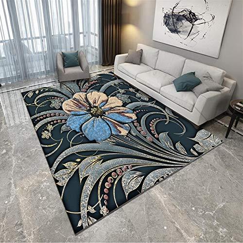 Ommda Tapis Salon Design Moderne 3D Abstrait Motif Tapis Salon Rectangulaire Orientale Anti Derapant Multicolore Grande Taille Fleurs 200x300cm