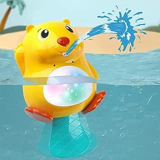iPlay, iLearn Electronic Baby Beaver Bath Tub Toys, WaterSpraySquirtLEDLightUp Float Bathtime Toys Bathtub Shower Pool Bathroom Gift for 12, 18 Months 1, 2 Years Toddler, Infant, Boys, Girls, Kid