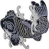 Parche bordado para planchar o coser con diseño de peces koi japoneses