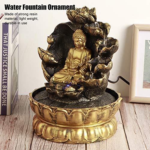 【 】 Decoración de Estatua de Buda de Escritorio, Innovador Adorno de Mesa con Fuente de Cascada LED con Bomba de Agua para decoración de Oficina en casa(Enchufe de la UE)