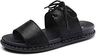 Wedges Flip Flops Sandals for Women,Roman Lace Up Flat Platform Beach Slides Shoes