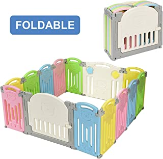 Costzon Baby Playpen, 14-Panel Foldable Kids Safety Activity Center Playard w/Walk-Through Locking Gate, Non-Slip Rubber Mats, Adjustable Shape, Portable Design for Indoor Outdoor Use (Multicolor)