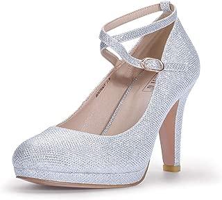 IDIFU Women's RO4 Tracy Buckle Crisscross Strap Platform Pump Round Toe Party High Heels Shoes Silver Size: 9.5