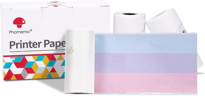 Phomemo M02/M02 Pro/M02S/M03 Rainbow Sticker Paper-for Plan Journal, Study Notes, DIY Creation, 50mm x 3.5m, Diameter 30mm, 3 Rolls