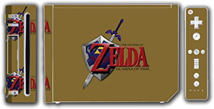 Legend of Zelda Link Ocarina of Time Gold Logo Master Sword Hylian Shield Video Game Vinyl Decal Skin Sticker Cover for the Nintendo Wii System Console