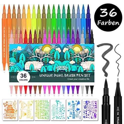 Emooqi Dual Brush Pen Set, 36 Farbe Doppelfasermaler Filzstifte, Tinte Auf Wasserbasis Doppel Filzstifte Für Aquarell Handlettering, Kalligraphie Manga, Bullet Journal Stifte