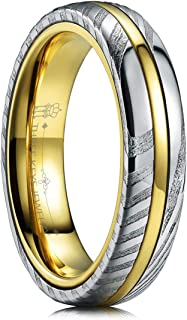 THREE KEYS JEWELRY Damascus Steel Wedding Rings for Men Women Engagement Bands