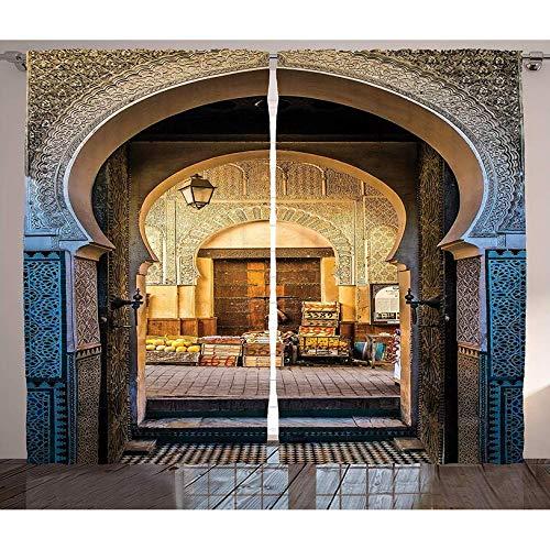 YSLTTY Cortinas Decoración Marroquí Puerta Típica Marroquí A La Antigua Medina Mediterráneo Entrada del Arco Histórico Sala De Estar Cortinas De Ventana Gancho De Desgaste 280(H) X220(W) Cm/(110