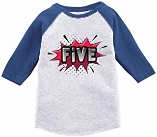 5th Birthday Gift for 5 Year Old Kids Toddler Raglan Superhero Shirts