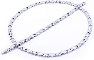 Silver Tone Hugs and Kisses Stainless Steel Stampato Necklace and Bracelet Set