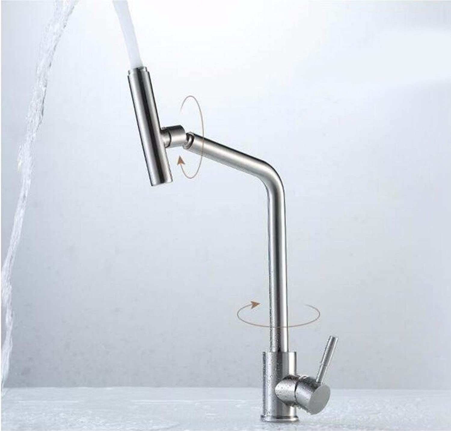 Commercial Single Lever Pull Down Kitchen Sink Faucet Brass Constructed Polished 304 Stainless Steel Kitchen Faucet Sus304 Stainless Steel Faucet Dish Hot and Cold Stainless Steel Faucet