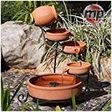 MP Essential Solar Powered 4 Tier Terracotta Cascade Water Fountain Feature