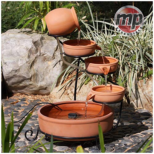 Photo of MP Essential Solar Powered 4 Tier Terracotta Cascade Water Fountain Feature