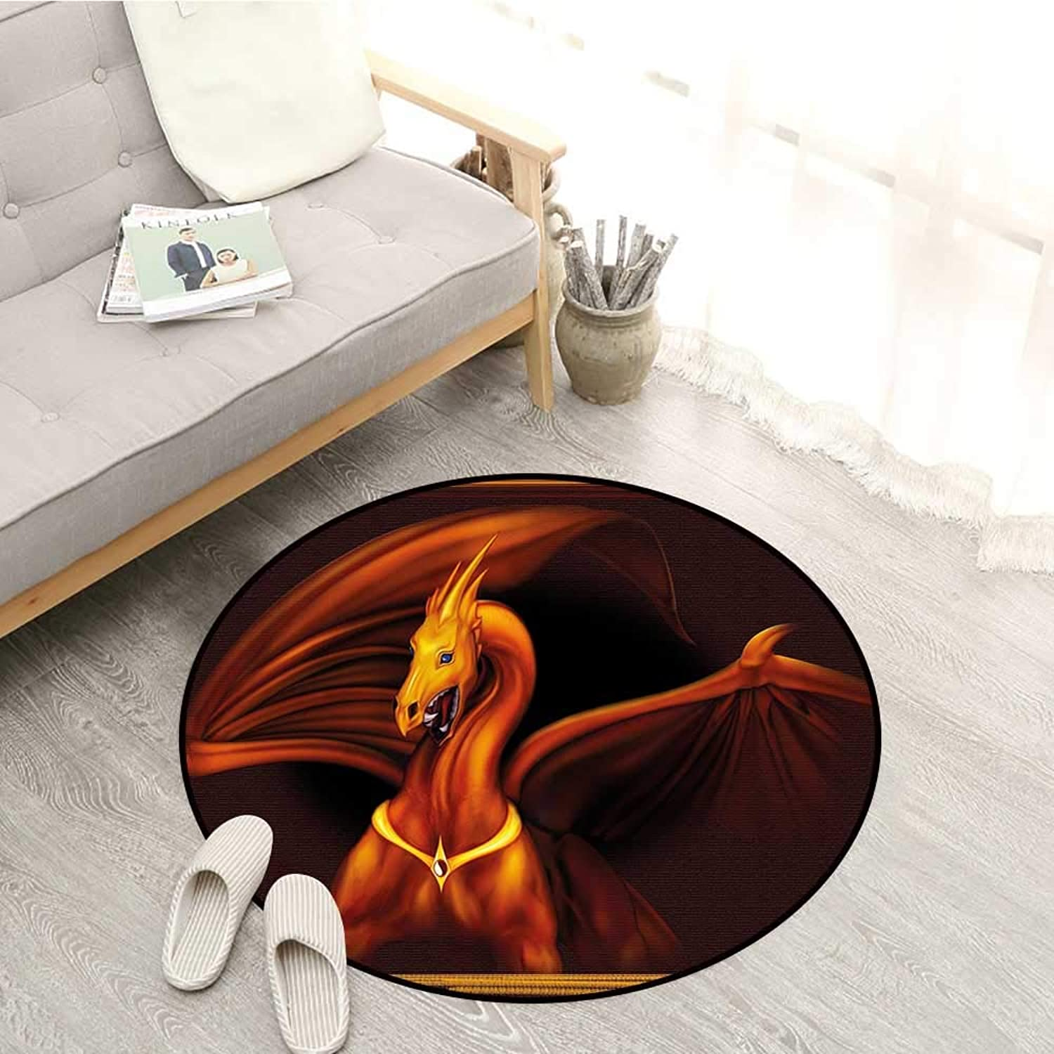 Dragon Carpets Legandary gold Tricorn Dragon on Dark Background Magical Wild Animal Picture Sofa Coffee Table Mat 2'7  Burgundy orange