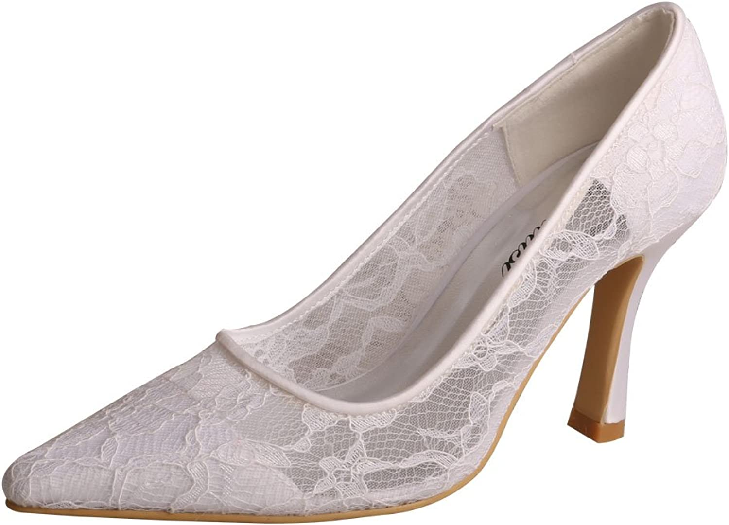 Wedopus MW741 Women's Stiletto Heel Pumps Pointed Toe White Lace shoes Wedding