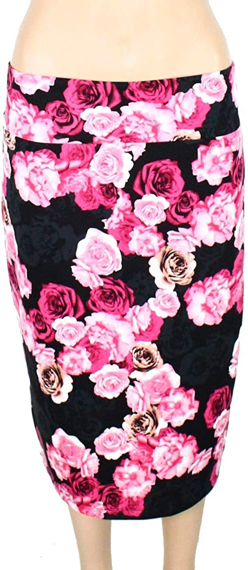 INC Womens Black Floral Knee Length Pencil Wear to Work Skirt Size XS