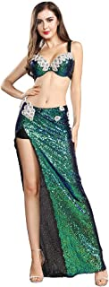 ROYAL SMEELA Belly Dance Costume for Women Belly Dancing Skirt Slit Sequin Dance Bra Sexy Maxi Long Skirts Carnival Outfit