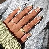 Feilisa Almond Daisy Press on Nails Medium...