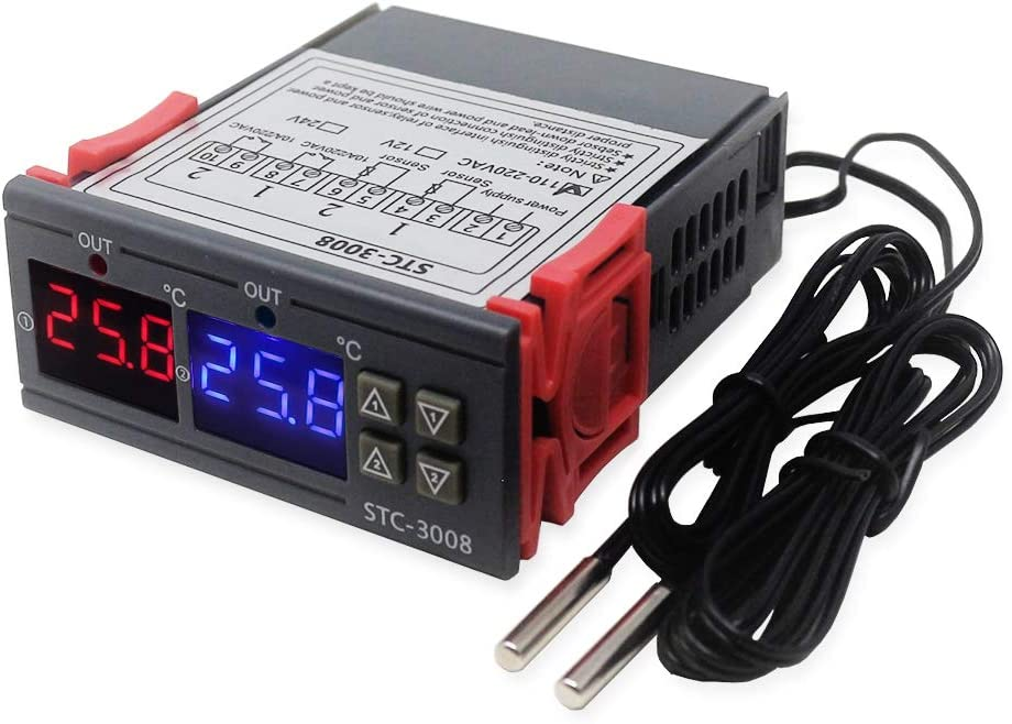 Yantan STC-3008 Dual Digital Incubadora Termostato Indicador Temperatura Regulador 12V