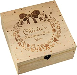 CAOREN Christmas Eve Box Wooden Engraving Gift Xmas Childrens Gift Christmas Wreath Snowflake Home Decorations