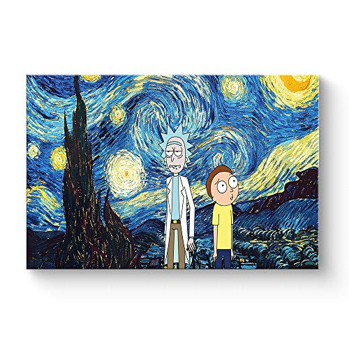 """Price comparison product image HAOSHUNDA HSD Wall Art Rick and Morty Posters On Canvas Oil Painting Posters and Prints Decorations Wall Art Picture Living Room Wall Ready to Hang 12"""" x 18"""" 16"""" x 24"""" (12""""x18""""x1,  Artwork-19)"""