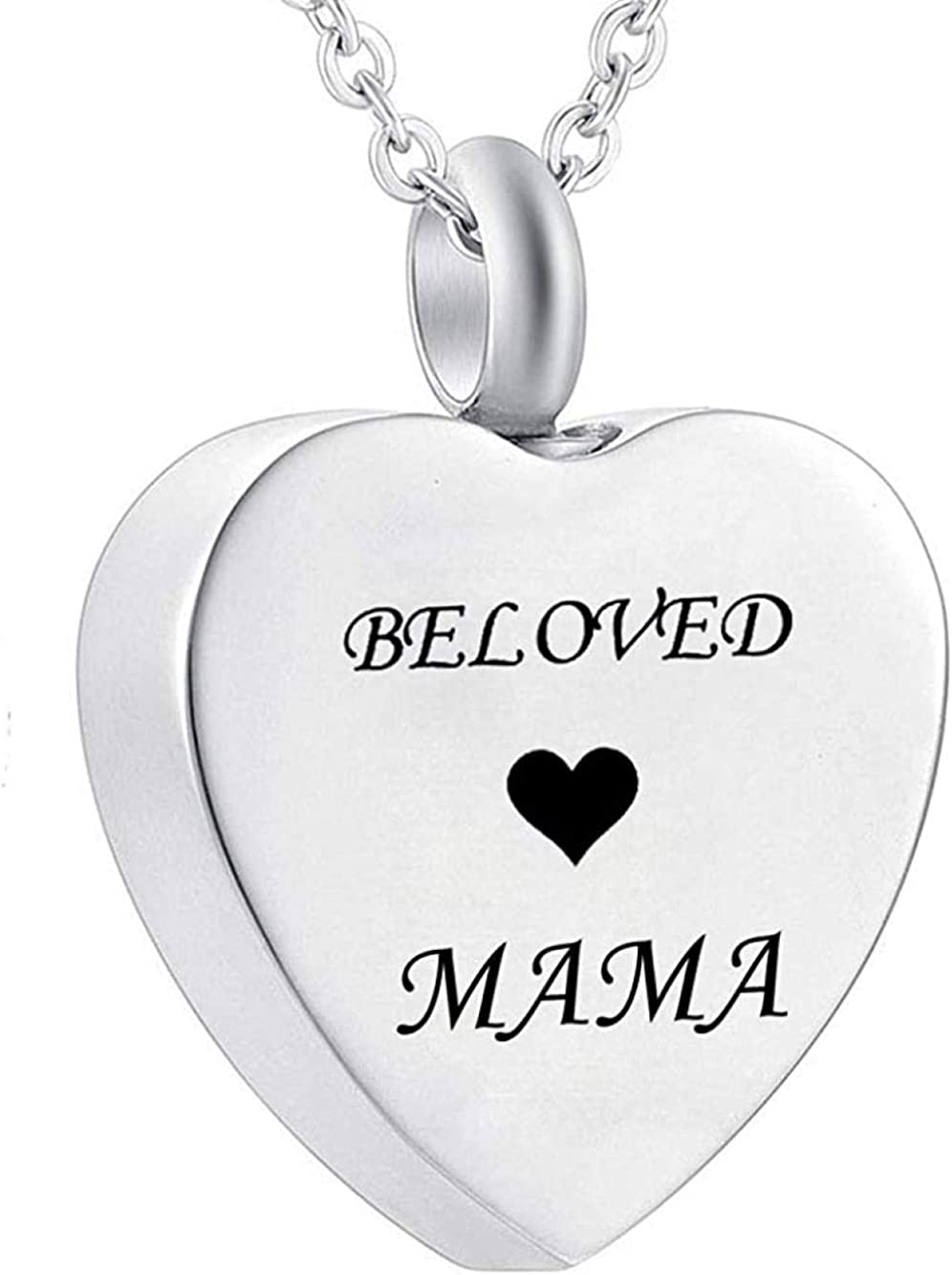 Ashes Chain Cremation Memorial Cremation Urn Heart Necklace for Ashes Personalized Charm Pendant 316 L Stainless Steel Memorial Keepsake Jewelry