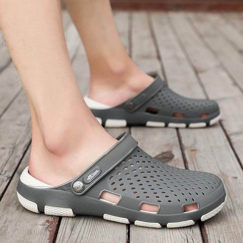 QRETYSG flip flop Men's Slippers Summer Beach Breathable Antiskid Baotou Hole Holes shoes Eva Soft-soled Casual Half Slippers Men Flip-flops