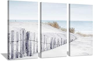 Beach Picture Seascape Artwork Prints: Wooden Sandy Fence on Canvas for Decor