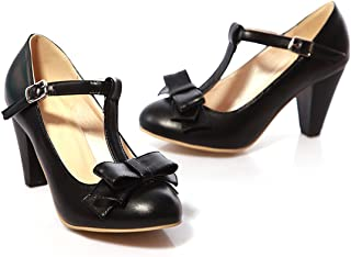 390552f61c2 Susanny Women s Chic Sweet Round Toe T-Strap Bows Adorable Buckle High Cone  Heel Mary