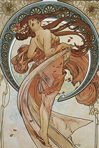 Artland Alte Meister selbstklebendes Wandbild Alfons Mucha Vier Künste: Der Tanz Wandtattoo Art 60 x 40 cm Kunstdruck Gemälde Jugendstil R0JD