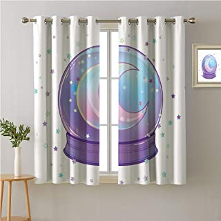 Jinguizi Vaporwave Grommet Privacy Assured Window Treatment,Crystal Ball with Rainbow Crescent Moon and Colorful Stars Cute Modern Design,Night Darkening Curtains,96W x 72L