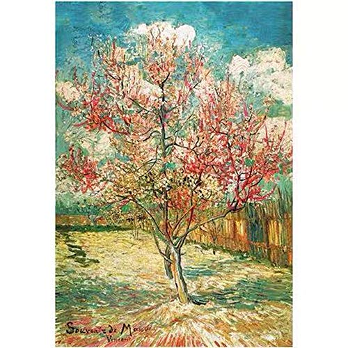 Van Gogh's Famous Painting Peach Blossom In Full Bloom DIY 5D Diamond Painting By Number Kits Painting with Diamonds Arts for Adults Full Drill Canvas Picture for Home Wall Decor 30x40cm(11.8x15.7 Inches)