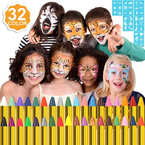 Konsait Face Paint Crayons for Kids, 36 Jumbo Face Body Painting Makeup Crayons, 36 Temporary Tattoo Stencils Sticks, 6 Fluorescent, 6 Metallic & 24 Classic Colors for Birthday Halloween Christmas