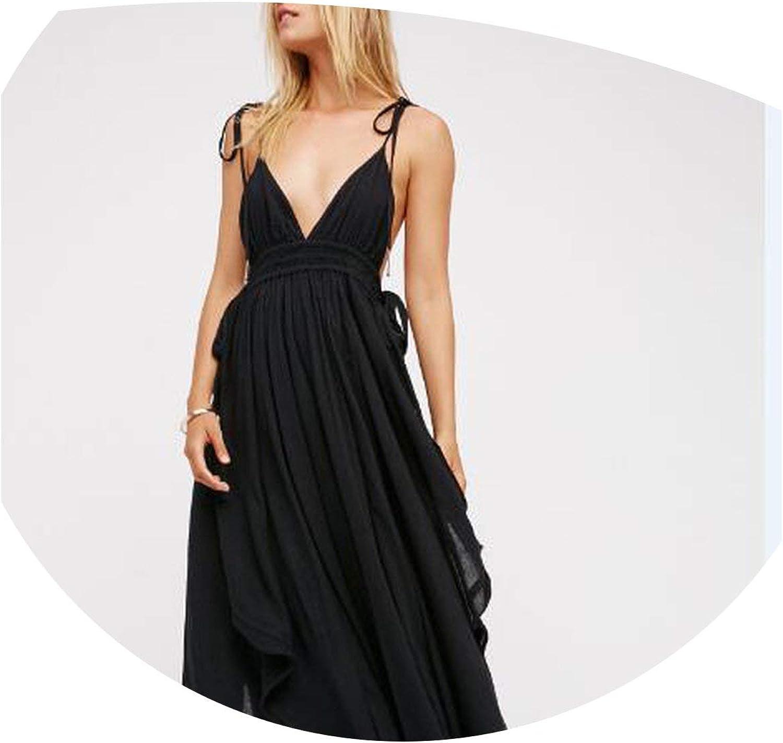 MayRainbowstore Solid color Deep VNeck Sleeveless Cotton Long Beach Summer Women Backless Strap Boho Maxi Sexy Dresses